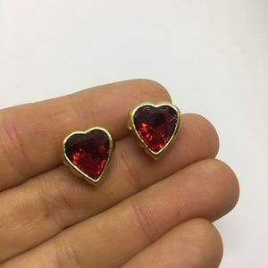 Heart shaped stud earrings red and gold